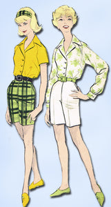 1960s Vintage Advance Sewing Pattern 9346 Uncut Misses Shorts & Blouse Sz 16 36B - Vintage4me2