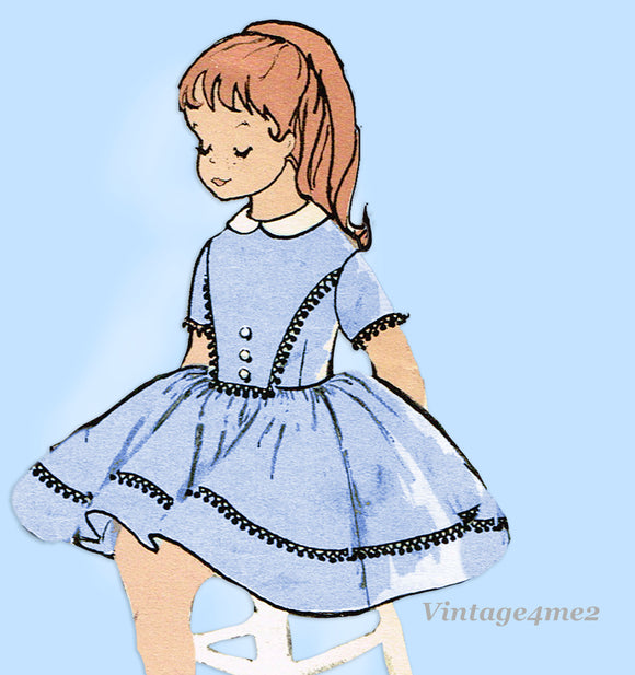 1960s Vintage Advance Sewing Pattern 9543 Cute Little Girls Dress Size 7 25 Bust