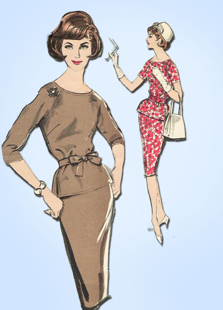 1960s Vintage Advance Sewing Pattern 9625 Misses 2 Pc Dress Easy 32B ...