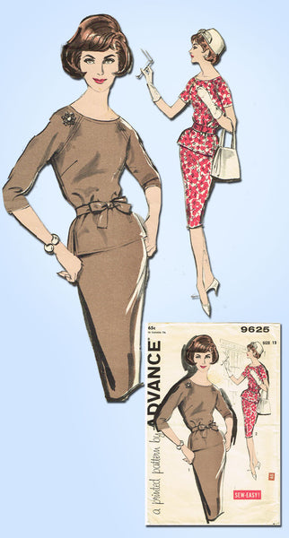 1960s Vintage Advance Sewing Pattern 9625 Misses 2 Pc Dress Easy Size 12 32B