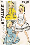 Advance 9766: 1960s Little Girls Day or Sun Dress Sz 8 Vintage Sewing Pattern