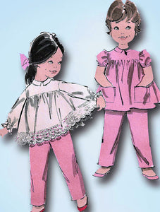 1960s Vintage Advance Sewing Pattern 9805 Baby Girls Smock Top & Pants Size 1 -Vintage4me2