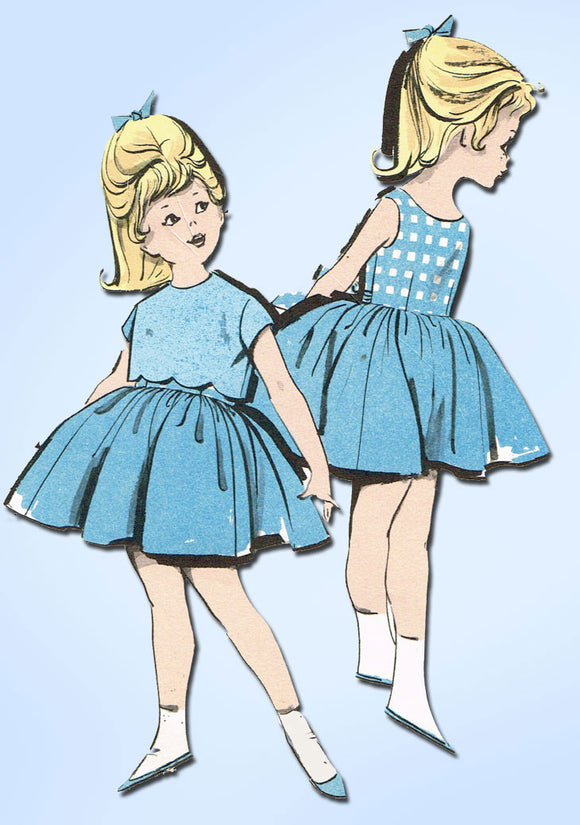 1960s Vintage Advance Sewing Pattern 9813 Toddler Girls Sun Dress & Topper Sz 6