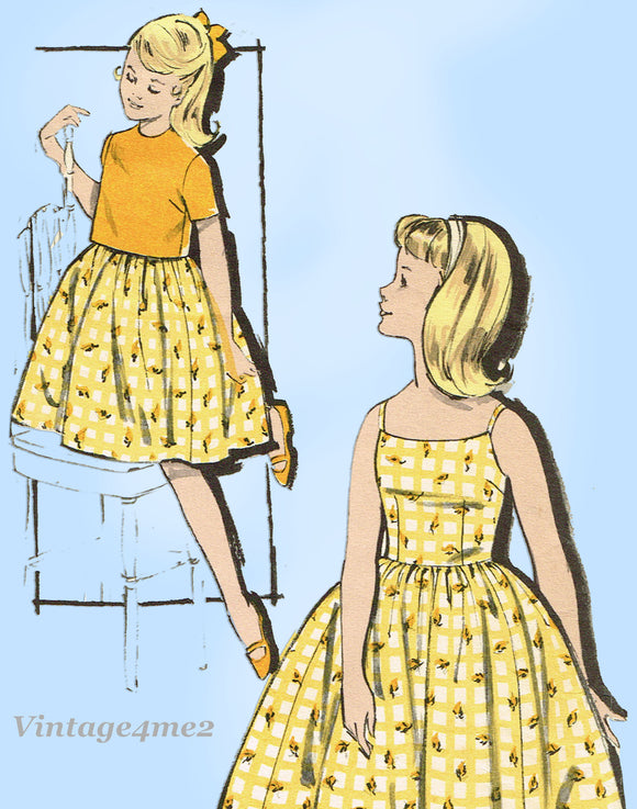 1960s Vintage Advance Sewing Pattern 9850 Uncut Little Girls Sun Dress Sz 30 B