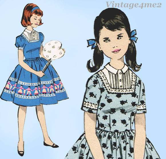1960s Vintage Advance Sewing Pattern 9874 Uncut Little Girls Dress Sz 8