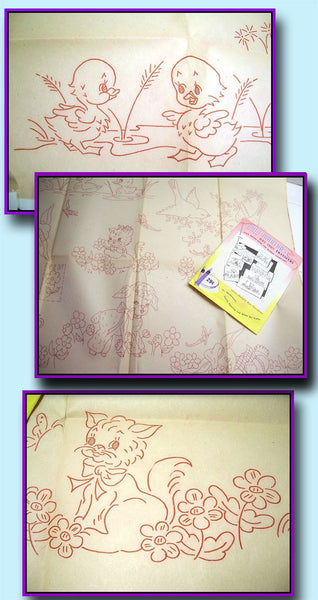 1950s Vintage Aunt Martha's Embroidery Transfer 3594 Uncut Kids Pillowcases