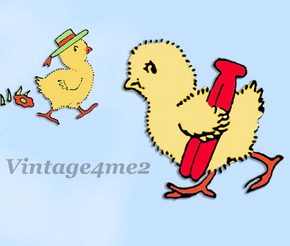 1950s Aunt Martha's Embroidery Transfer 9171 Uncut Chick DOW Tea Towels