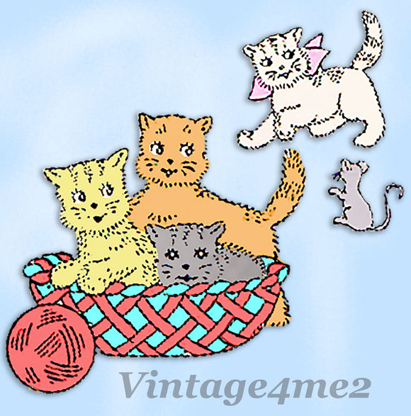 Aunt Martha's Embroidery Transfer 9178: 1950s Uncut Kitten Pillow Top Motifs