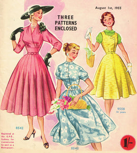 1950s Australian Home Journal Magazine & 3 Dress Patterns Aug 1955 Size 36 B
