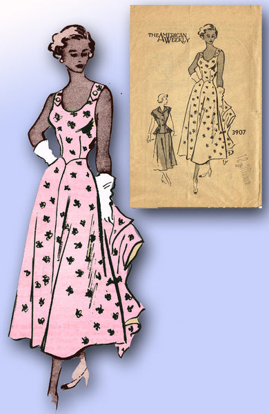 1940s Vintage Mail Order Sewing Pattern 3907 Misses Sun Dress and Jacket Size 12 - Vintage4me2