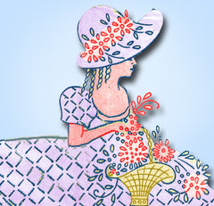 1930s Betty Burton Embroidery Transfer 1521 Garden Gal Pillowcases Uncut ORIG - Vintage4me2