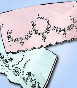1920s Betty Burton Redwork Pillowcases Uncut Hot Iron Embroidery Transfer 1542 - Vintage4me2
