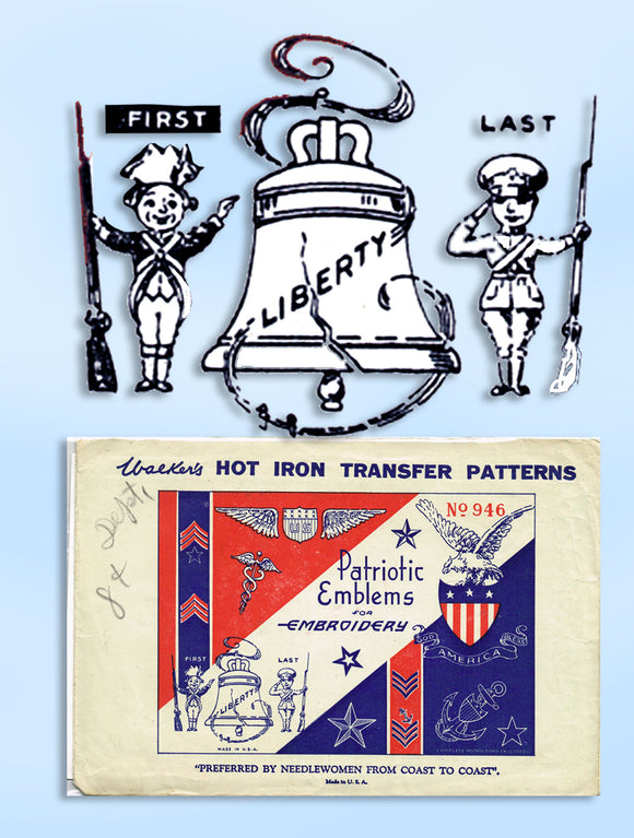 Betty Burton 1929: Uncut Military Motifs Patriotic Emblems Embroidery Transfer - Vintage4me2