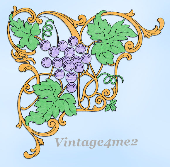 1930s Betty Burton Grape Motifs for Pillowcases Uncut Embroidery Transfer 1963