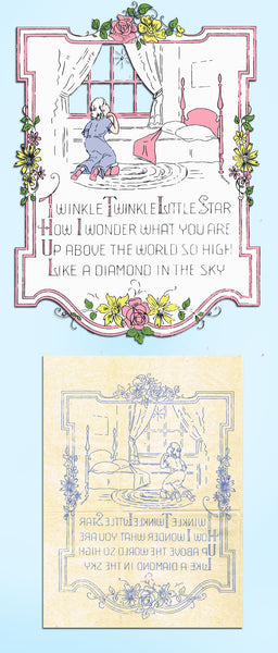 1920s Vintage Betty Burton Embroidery Transfer 1972 Twinkle Little Star Picture - Vintage4me2