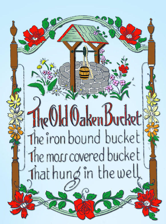 1920s VTG Betty Burton Embroidery Transfer 1972 Uncut Old Oaken Bucket Sampler - Vintage4me2