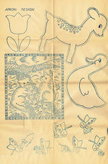 1940s Embroidery Transfer DOW Bonnet Gals & More Uncut Blue Line Motifs ORIG