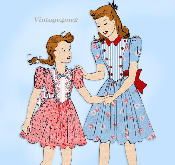 Butterick 1004: 1930s Cute Little Girls Sunday Dress Sz 12 Vintage Sewing Pattern