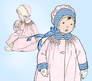 1920s Vintage Butterick Sewing Pattern 1198 Toddler Girls Smocked Coat Size 2