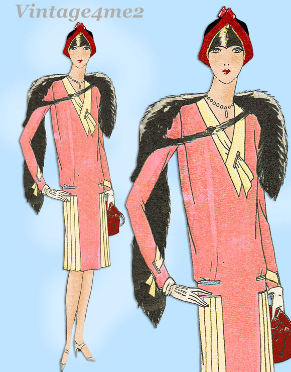 Butterick 1217: 1920s Uncut Misses Flapper Dress Sz 37B Vintage Sewing Pattern