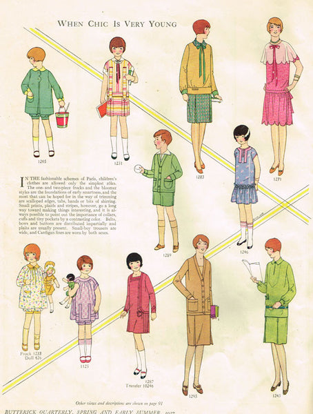 1920s Vintage Girls Flapper Dress Uncut Butterick Sewing Pattern 1293 Size 12 - Vintage4me2