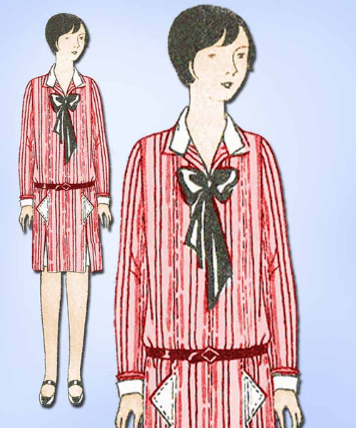 1920s Vintage Butterick Sewing Pattern 1310 Uncut Girls Flapper Dress Size 12 - Vintage4me2