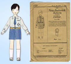 1920s Vintage Butterick Sewing Pattern 1385 Uncut Toddler Boys Suit Size 4 23 B