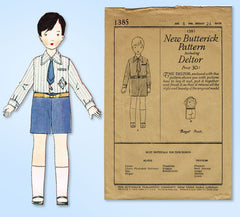 1920s Vintage Butterick Sewing Pattern 1385 Uncut Toddler Boys Suit Size 6