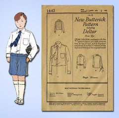 1920s Vintage Butterick Sewing Pattern 1442 Uncut Boys Blouse or Shirt Size 8