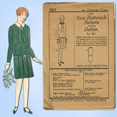1920s VTG Butterick Sewing Pattern 1562 Uncut Little Girls Flapper Dress Sz 10