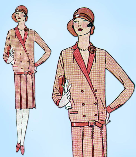 1920s Vintage Butterick Sewing Pattern 1578 Misses Flapper Dress w Flower Sz 33B - Vintage4me2