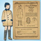 1920s Vintage Butterick Sewing Pattern 1592 Uncut Baby Boys Over Coat Size 2 - Vintage4me2