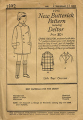 1920s Vintage Butterick Sewing Pattern 1592 Uncut Baby Boys Over Coat Size 2