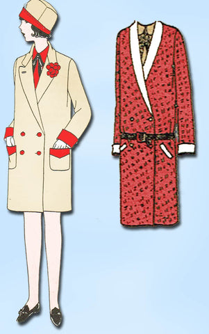 1920s Antique Butterick Sewing Pattern 1843 Uncut Girls Flapper Coat Size 10