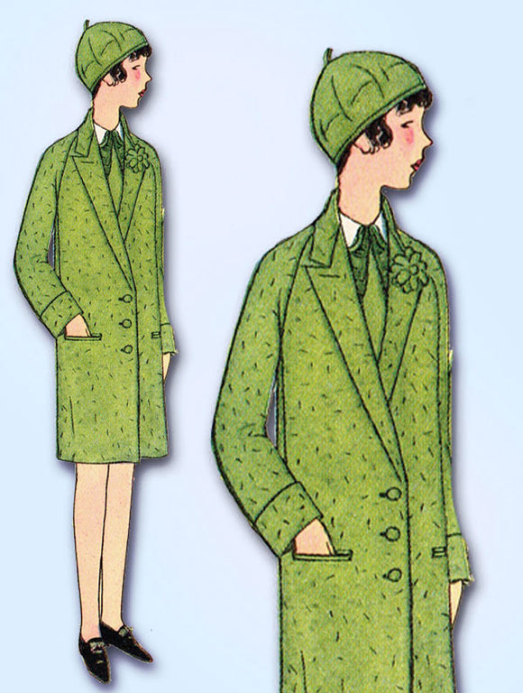 1920s Vintage Butterick Sewing Pattern 1907 Uncut Girls Flapper Coat Size 8 25B