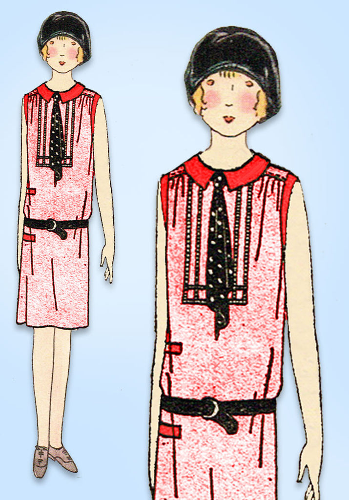 1920s Vintage Butterick Sewing Pattern 1981 Uncut Girls Flapper Dress Sz 10 27B