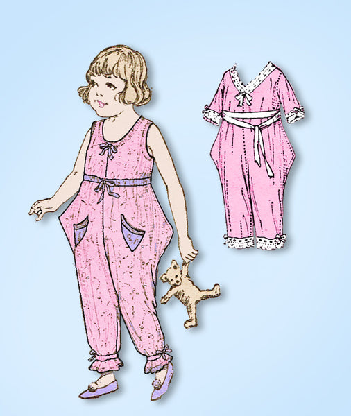 1920s Vintage Butterick Sewing Pattern 2066 Baby Girls Step In Pajamas Size 2