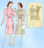 1940s Vintage Butterick Sewing Pattern 2153 Uncut WWII Shirtwaist Dress Sz 32 B - Vintage4me2