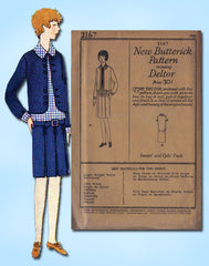 1920s Vintage Butterick Sewing Pattern 2167 FF Junior Misses Flapper Dress Sz 14 - Vintage4me2