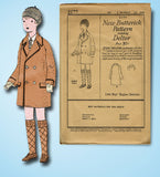 1920s Vintage Butterick Sewing Pattern 2177 Uncut Toddler Boys Raglan Coat Sz 3