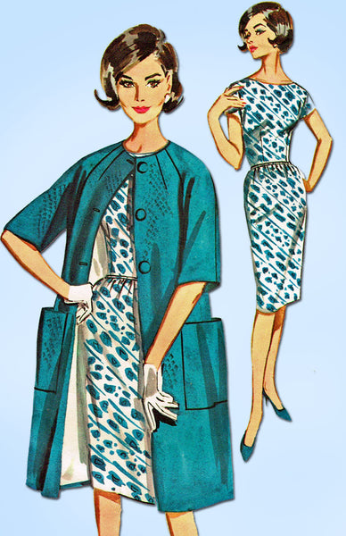 1960s Vintage Butterick Sewing Pattern 2183 Misses Sheath Dress and Coat Sz 32 B