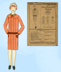 1920s VTG Butterick Sewing Pattern 2189 Uncut Girls Pleated Flapper Dress Sz 12