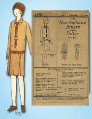 1920s Vintage Butterick Sewing Pattern 2198 Uncut Girls Flapper Dress Size 8 - Vintage4me2