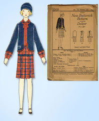 1920s VTG Butterick Sewing Pattern 2202 Uncut Girls Flapper Bolero Suit Sz 12
