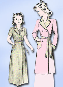 1940s Vintage Butterick Sewing Pattern 2293 Little Girls WWII Bathrobe Size 10 - Vintage4me2