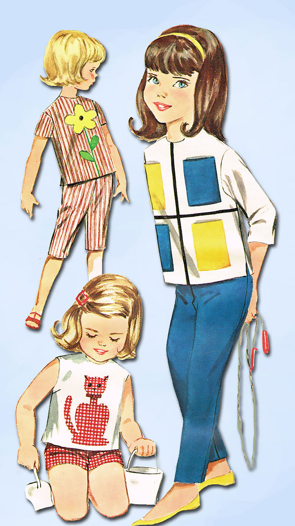 1960s Vintage Butterick Sewing Pattern 2301 Baby Girls Applique Top & Pants Sz 3