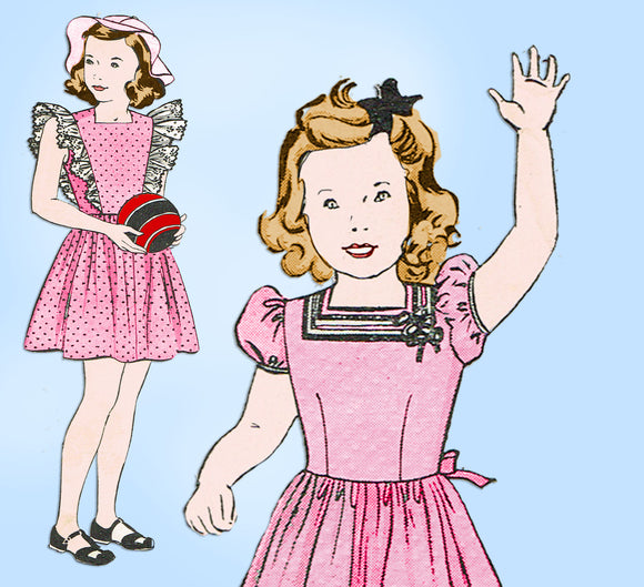 1940s Vintage Butterick Sewing Pattern 2309 Toddler Girls Dress or Pinafore Sz 2 - Vintage4me2