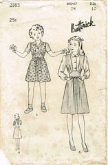 1940s Vintage Butterick Sewing Pattern 2385 WWII Girls Jumper Dress Size 10 28B