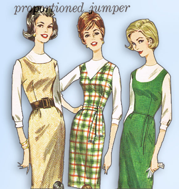 1960s Vintage Butterick Sewing Pattern 2434 Uncut Misses Proportioned Dress 32 B