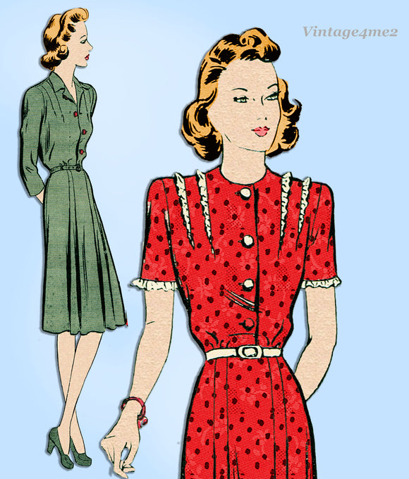 Butterick 2486: 1940s Womens WWII Plus Size Dress 44 Bust Vintage Sewing Pattern